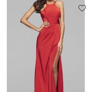Faviana 7904 Red Dual Strap Prom Dress